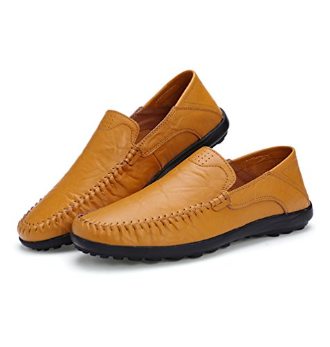 Dooxi Hommes Mode Entreprise Mocassins Bateau Chaussure Décontractée Plat Loafers Chaussures Jaune marron