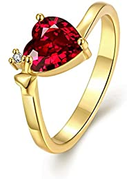 Yellow Chimes Queen Heart 18K Gold Plated Austrian Crystal Red Heart Ring for Women and Girls