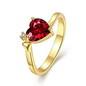 Yellow Chimes 'Queen Heart' 18K Gold Plated Austrian Crystal Red Heart Ring for Women and Girls