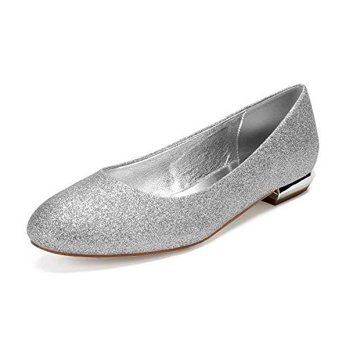 AIMISHOES Runde Kopf Pailletten Schuhe Wohnungen Damen Slip on Brautjungfern Brautschuhe Strand Hochzeit flach,Silber,40 (Brautjungfern Schuhe Wohnungen)