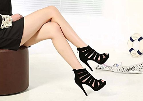 Women Fashion Hollow High Heel Zipper Peep Toe Kitten Talon Sandales Botte à cheville Black