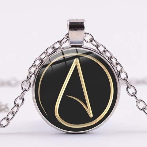 DADATU Atheist Atheism Symbol Halskette ohne übernatürliche Theorie Glas Cabochon Runde Anhänger Silberkette Schmuck