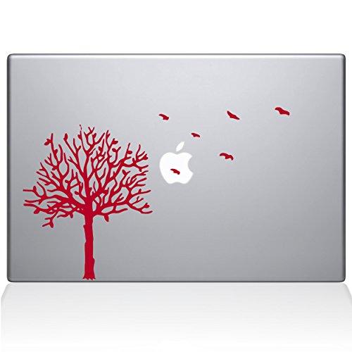 The Decal Guru 2094-MAC-12M-BLA Baum mit Vögeln Aufkleber Vinyl Rot rot 12
