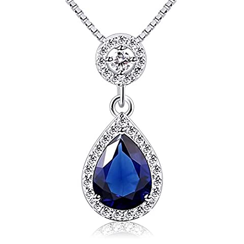 B.Catcher Angel Tears Necklace Blue Teardrop Pendant Cubic Zirconia Necklace 925 Sterling Silver Forever Love Women Necklaces