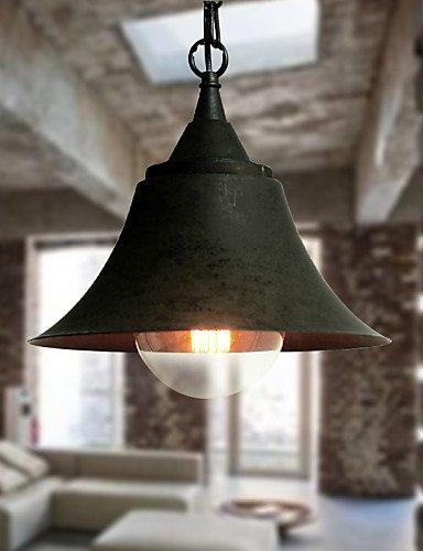 Illuminazione jiaily Medium Vintage nero opaco forma a campana in metallo luce pendente , bianco-220-240v