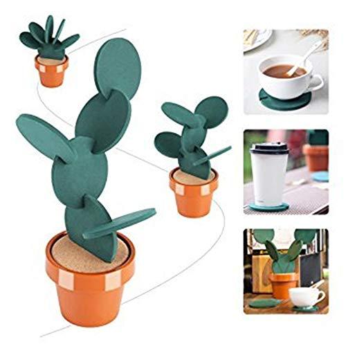 【6 Stück Kaktus-Tassen Untertassen-Set】 Anti-Rutsch-abnehmbare Tasse/Kaffee/Tee-Untersetzer, Wärme-Isolierung, Untersetzer Pad mit Halterung, Tischdekoration, Küchenzubehör, kreatives Geschenk