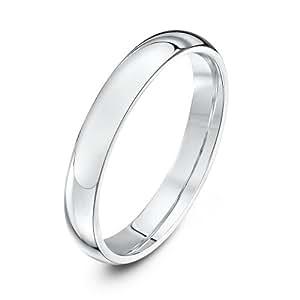 Theia Palladium 950 Super Heavy - Court shape 3mm Wedding Ring - Size H