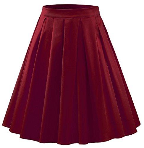 Eyekepper Jupe courte Femme / demoiselle - Jupe Vintage 1950 vin rouge