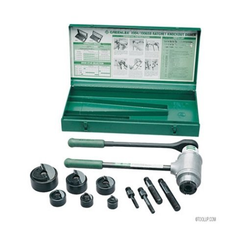 Greenlee 1906SB Slug-Buster Ratchet Punch Driver Kit With Conduit Size Punches by Greenlee - Conduit Slug