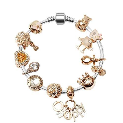 Ggcl bracciale da donna te bracciale da donna in acciaio inossidabile a forma di cuore in oro rosa bracciale swarovski elements love design,gold,18cm