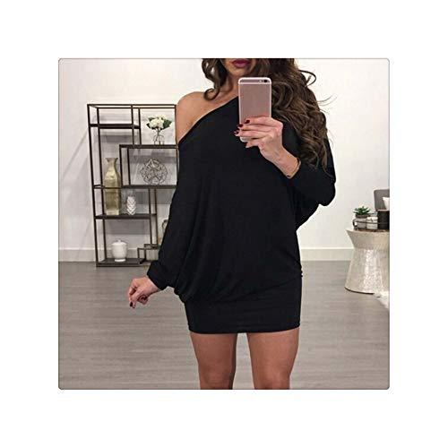 Mini Dress Bat Sleeve Loose Sexy Off Shoulder Package Hip Dress Spring Autumn Women Slash Neck Long Sleeve Dresses Black M -