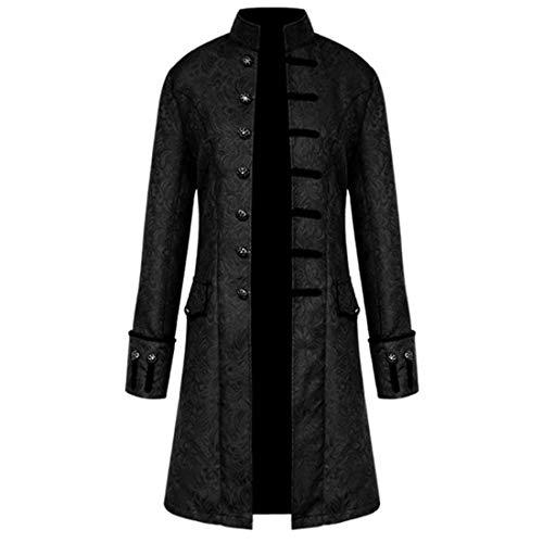 FuliMall Herren Punk Retro Mäntel Steampunk Langarm Jacke Mittellang Mantel Mittelalter Kostüm Cosplay Uniform für Männer, Schwarz, 3XL