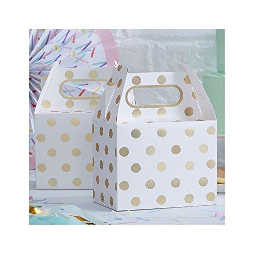 Geschenkboxen, gold, weiß | 5 Stück - 2