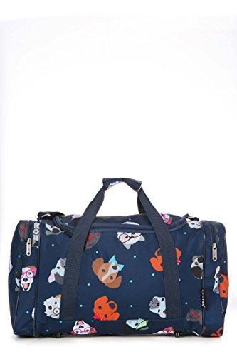 5Cities leicht Hand Gepäck Cabin Größe Sport Duffle Holdall, schwarz (Schwarz) - HOLD602 BLACK Dotty Dogs Navy