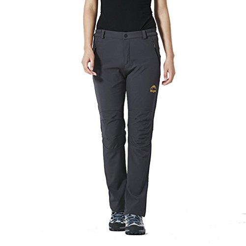 emansmoer Femme Softshell Doublé Polaire Coupe-Vent Imperméable Outdoor Sport Pantalon d'escalade Randonnée Camping (Large, Gris)