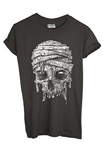 Image t-shirt zombie mummia - funny - donna-l-antracite melange