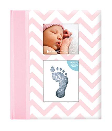 Pearhead Chevron Baby Memory Book avec un tampon d'encre Clean-Touch inclus pour créer l'empreinte de la main ou l'empreinte du bébé, rose Pearhead