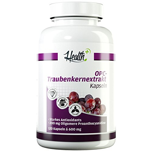 HEALTH+ OPC Traubenkernextrakt - 120 Kapseln, 200 mg reines OPC Pulver - Oligomere Proanthocyanidine starkes Antioxidants, OPC Kapseln hochdosiert & vegan Made in Germany