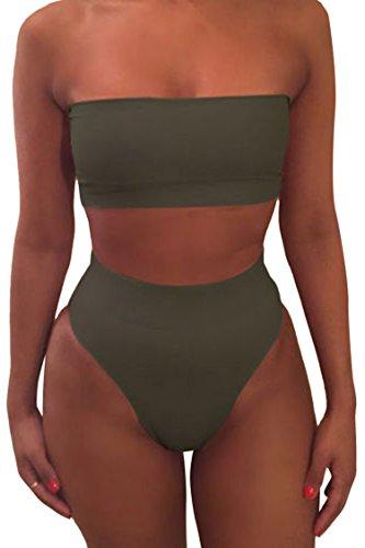 Viottisetet Bandeau Top Damen Bikini Set High Waist Badeanzug mit Abnehmbare Träger -