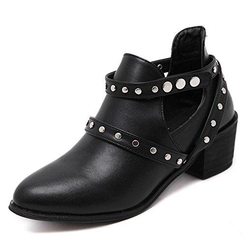 LvYuan-mxx Femmes bottes courtes / automne et hiver / rétro Simple rivet / pointu la chaîne en cuir de talon / Talon Chunky / Bureau & Carrière / Vêtements / Casual / chaussures à talons hauts 38-BLACK