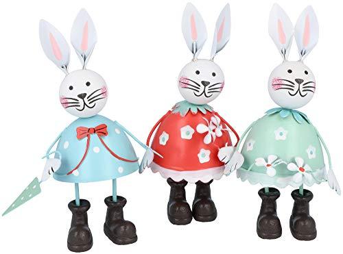 Com-four® 3 conigli decorativi in metallo, coniglietti pasquali in diversi colori come decorazione per pasqua (03 pezzi - coniglio in metallo)