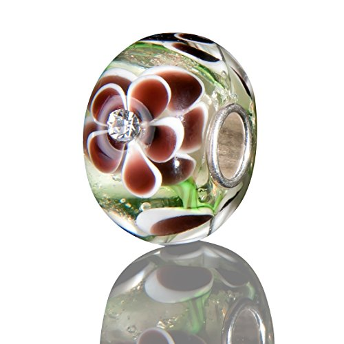Mandel-glas (Andante-Stones 925 Sterling Silber Glas Bead Charm SEALIFE (Creme mit braun-weißen Blumen und Zirkonia) Element Kugel für European Beads + Organzasäckchen)