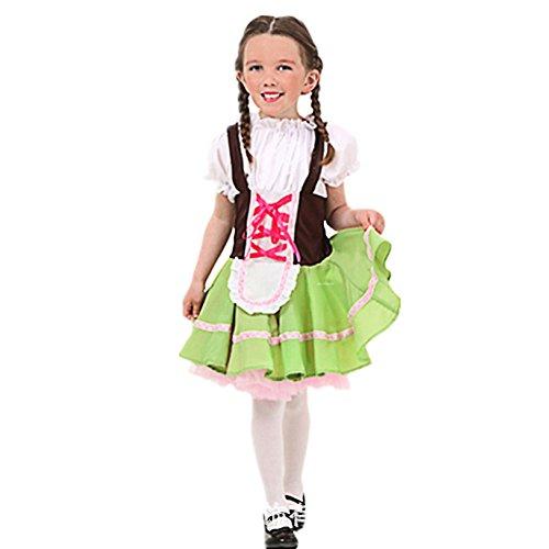 Kostüm Sets Luna - West See Mädschen Dirndl Oktoberfest Kleider Trachtenkleid Dirndl Bluse Cosplay Kostüm mini midi Kinder Dirndl Set Grün Lena Luna Emma
