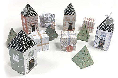 Farbenfrohes Adventskalender Dorf mit 24 Boxen, Schleifen und 24 Nummern - Adventskalender zum selber Machen und befüllen