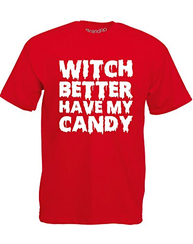 Witch Better Have My Candy, Mann Gedruckt T-Shirt - Rote/Weiß M = 96-101 cm