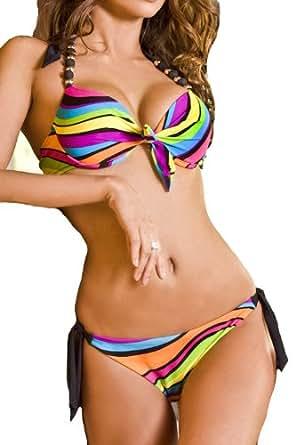 Maillot de bain femme Bikini 2 pièces push up taille (L)