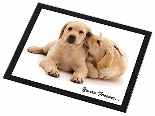 Yellow Labrador Dog ' Yours Forever' Glas Tischset mit schwarzem Rand Weihnachte
