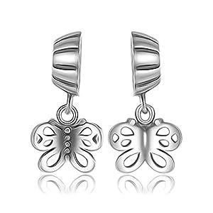 Forever Friends Schmetterling Charm Bead–Sterling Silber 925–Für Pandora & Trollbeads Armbänder–Geschenkverpackung