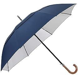 G4Free UV UPF50 + Paraguas de protección solar 62 pulgadas Mango en J de madera Gancho de golf Paraguas abierto automático grande Toldo doble Ventilado Caña de palo clásico a prueba de viento