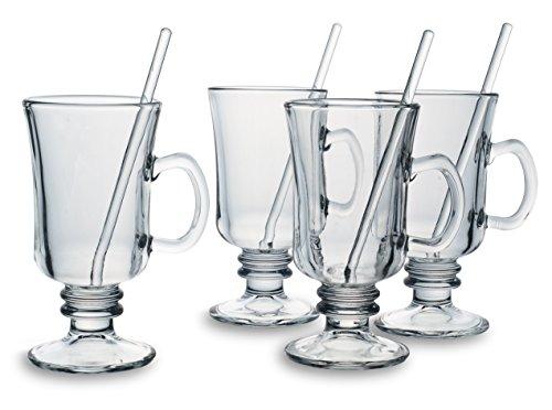 Bohemia Cristal 093 006 140 Groggläser ca. 200 ml mit Rührstäbchen aus Kalk-Natron-Glas 4er Set