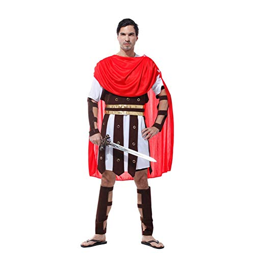 NCTM Kostüm Mantel - Red Roman Warrior für Männer Party Cosplay - Roman Prinz Kostüm