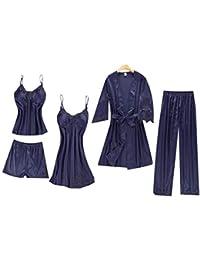 redbe 5 Unids Moda Mujer Cuello En V Correa de Espagueti Pantalones Cortos de Encaje Patchwork