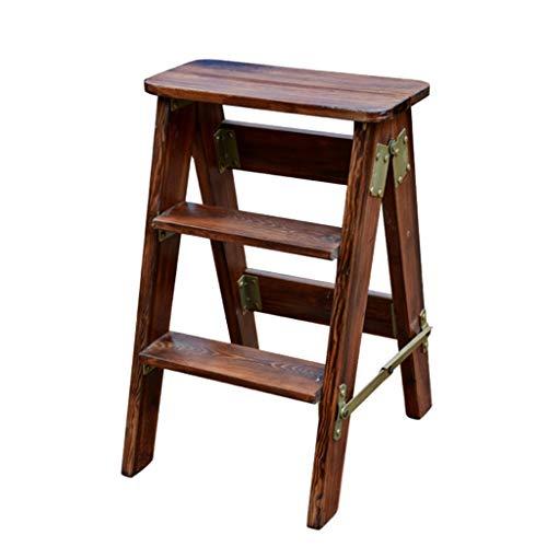 LWZ-Leitern WZ-Klappstufen Holz Trittleiter Hocker Multifunktions Faltbare Dual-Use Anti Slip Home Bibliothek 3 Schritte 150 kg Kapazität (3 Farbe) (Farbe : B)