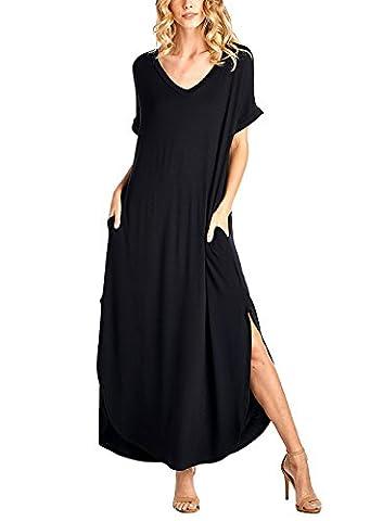 Yidarton Manches Longues à Manches Courtes à Manches Longues Robe Maxi (XL, Noir)