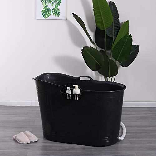 Schwänlein® Mobile Badewanne, Ideal für das kleines Badezimmer, 99x52x65cm, Stylisch und Stimmungsvoll (Schwarz)