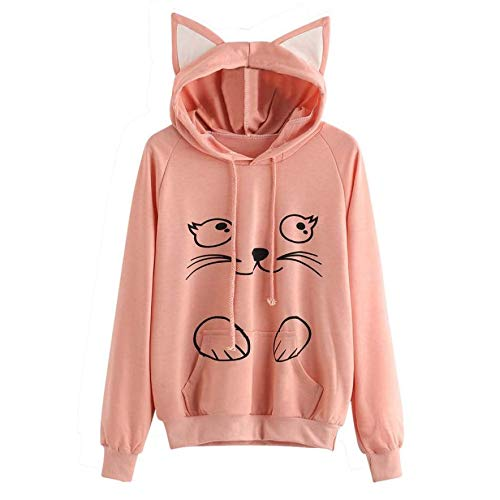 U.Expectating Frauen Tops, süße Katze Hoodie Casual Langarm lose T-Shirt Blusen Tops Style Hedging Sweatshirt mit Kapuze Orange Womens Raglan Hoodie