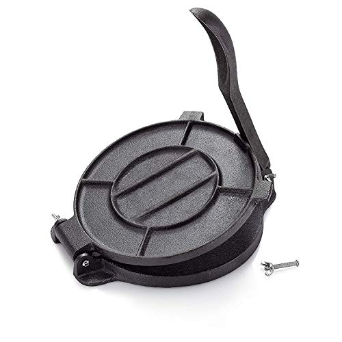 Impeccable Culinary Objects (ICO) Cast Iron Tortilla Press, Tortilla, Roti, and Flatbread Maker (Pre-Seasoned) - makes fresh Corn or Flour Tortillas for grilling
