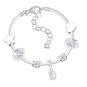 Leder-Charm-Armband und Einhorn-Geburtstagskarte für 10. Geburtstag, für Mädchen, Geschenk-Set