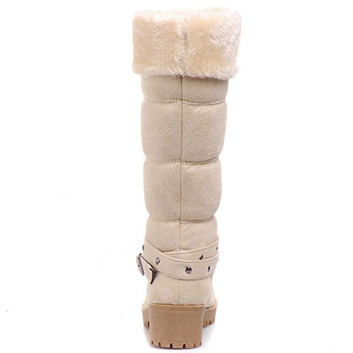 COOLCEPT Damen Warm Winterschuhe Fur Boots Blockabsatz Beige
