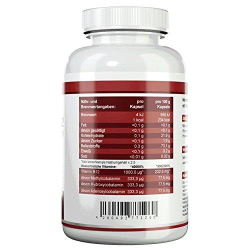 HEALTH+ Vitamin B12 – 120 Kapseln – 1000mcg Cobalamin-Komplex (Methylcobalamin, Adenosylcobalamin, Hydroxycobalamin) - 2