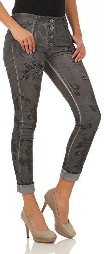 malito Damen Jeans mit Blumen Muster | Hose mit Strass | Stretch Jeans im Denim Look | Joggjeans �?Slim fit H216 Dunkelgrau