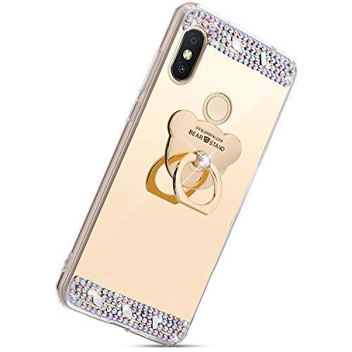 Herbests Kompatibel mit Xiaomi Redmi 6 Pro Hülle Spiegel Silikon Durchsichtige TPU Schutzhülle Case Bling Glänzend Glitzer Strass Diamant Handyhülle Tasche mit 360 Grad Ring Ständer,Gold