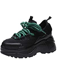 ZHRUI Womens Casual Platform Sport Aumenta Scarpe Alte Sneakers Piatte  Stringate arrotondate (Colore   Nero 713571d40ca
