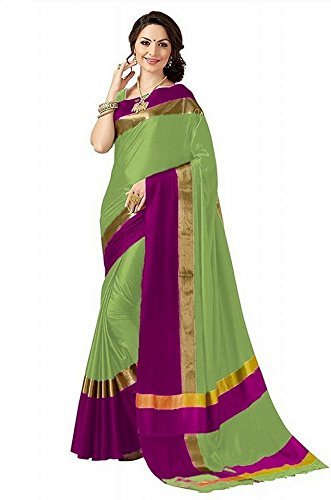 High Glitz Fashion Women's Green Colour Poly Cotton Latest Saree With Blouse...
