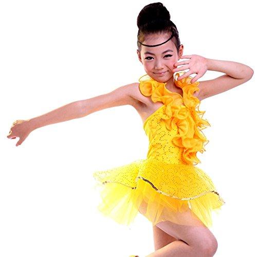 Byjia Mädchen Kollektiv Ballett Latin Tanz Kostüme Lose Kinder Bühne Aufführungen Jugend Komfort Studenten Chor Partei Yellow (Kostüme Für Verkauf Tanz Ballett)