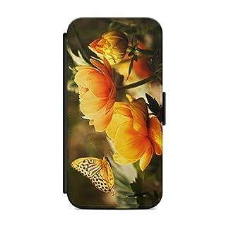 aina Kompatibel mit Huawei P20 Lite Flipcase Handytasche Hülle mit Magnetverschluss auffklappbar Blumen Motiv Bild